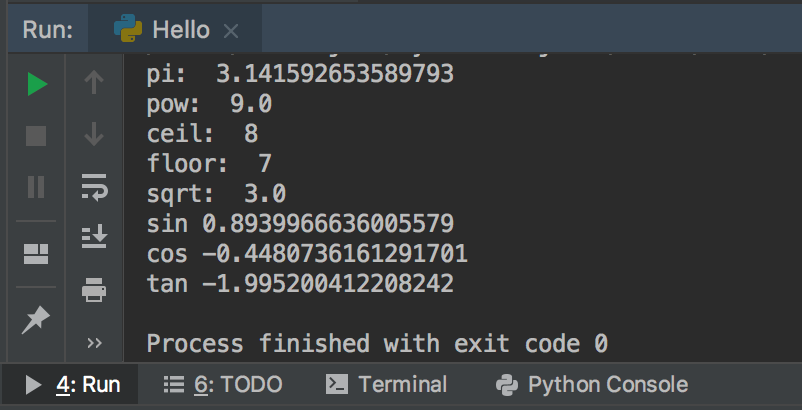 Example of some math functionsoutput and python import math