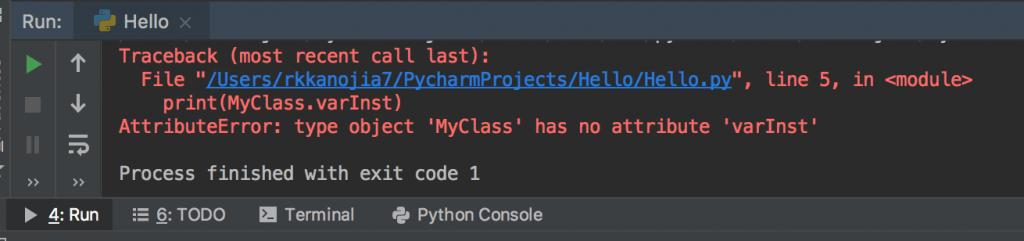 Python class access Instance Variables output error