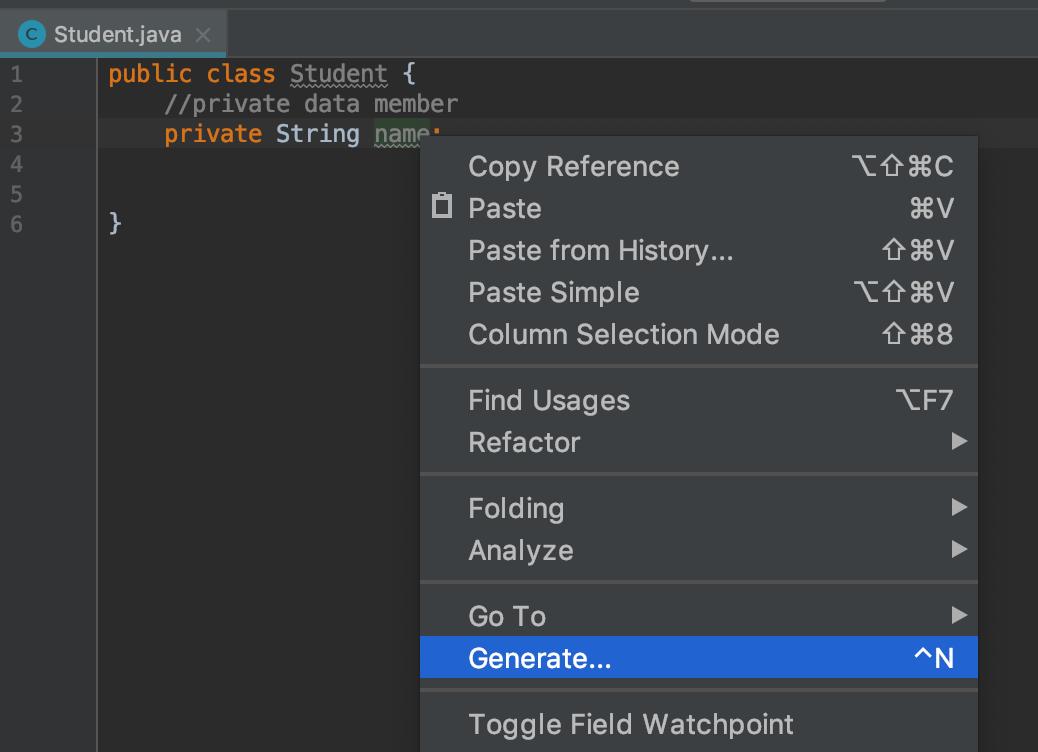 Java Encapsulation generate getter and setter