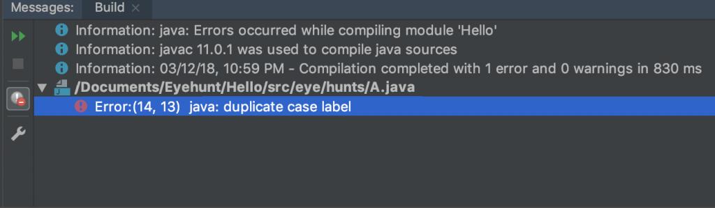 Java Switch Statement error