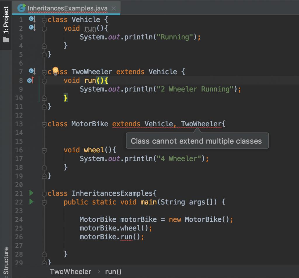 multiple inheritance not supported java compiler time error