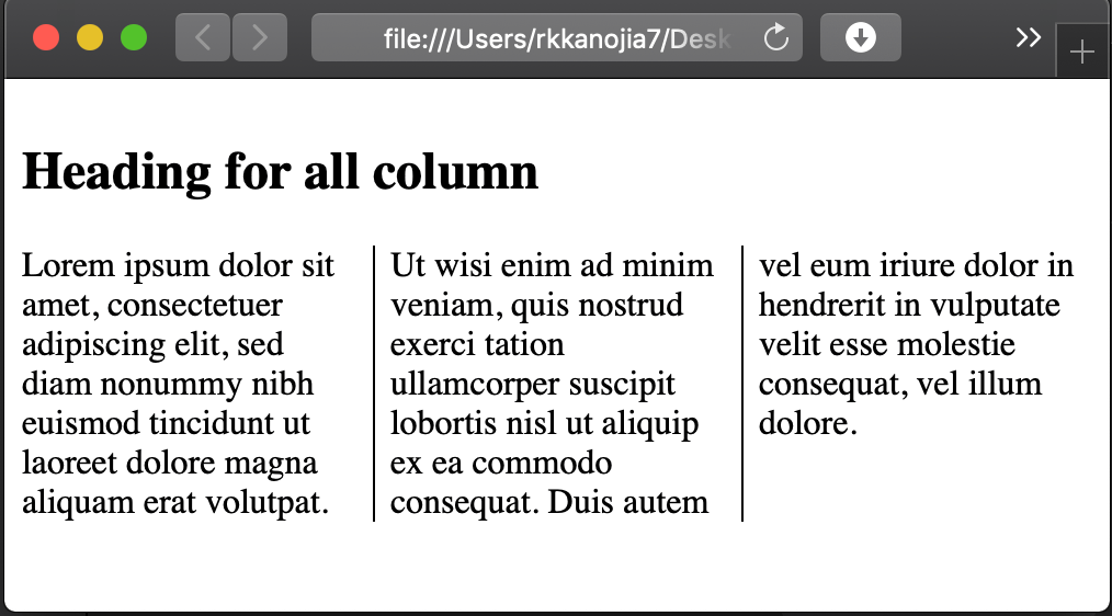 CSS column span output