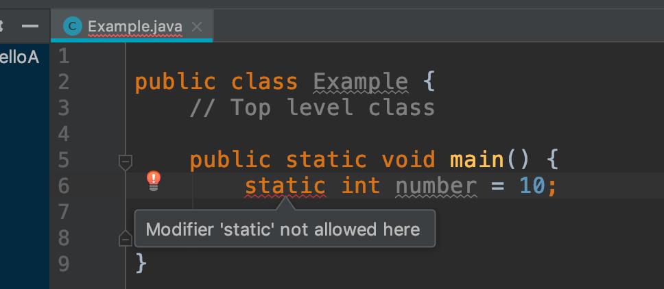 Static variable in method
