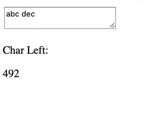 TextArea character count JavaScript Example