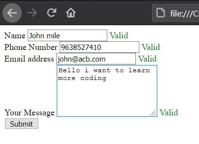 JavaScript contact form validation HTML
