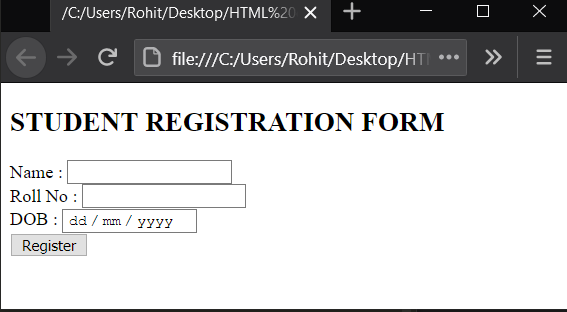 Student registration form in HTML with JavaScript validation