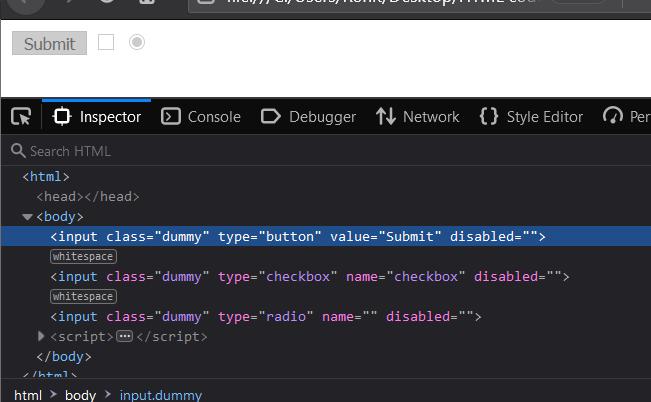 HTML Add disabled attribute JavaScript