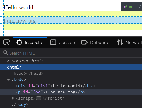 JavaScript adds element after another html