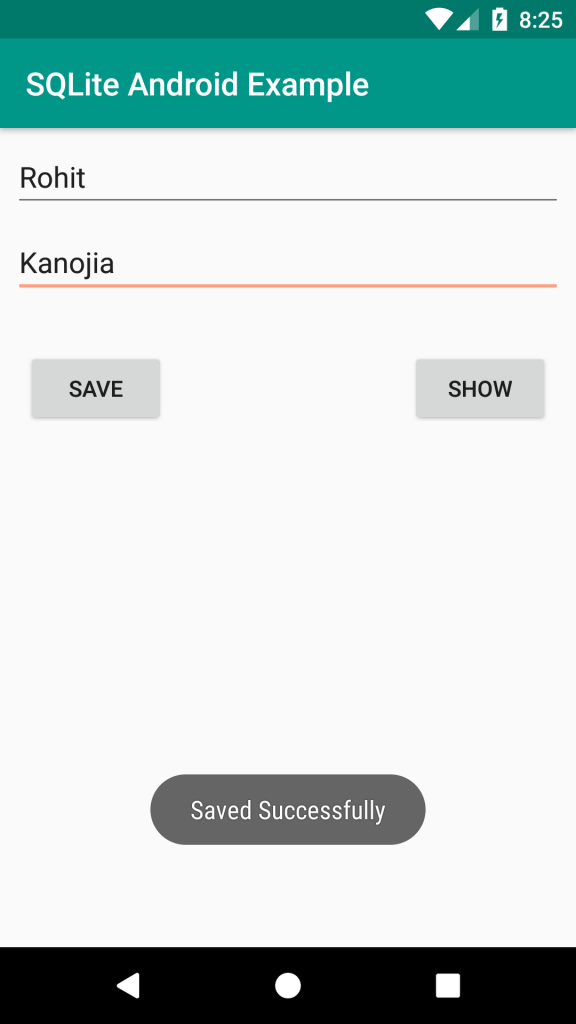sqlite android example inserting data