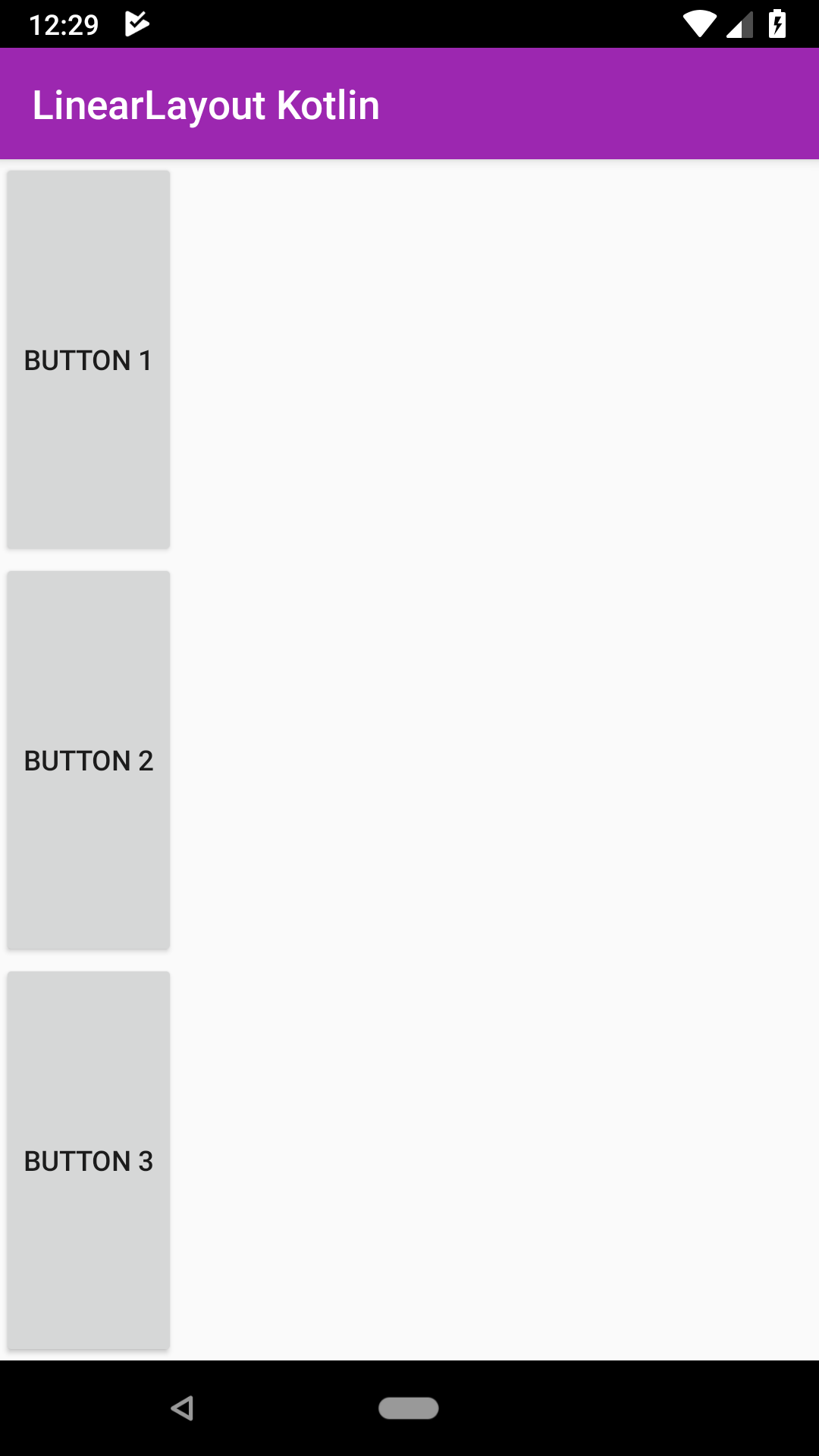 Android LinearLayout vertical orientation example weight