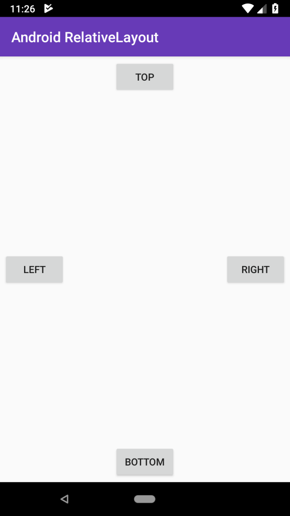 android RelativeLayout app UI Bottom , Left , Top and Right