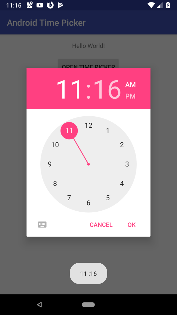 Android Time Picker Dialog and Example in Kotlin output