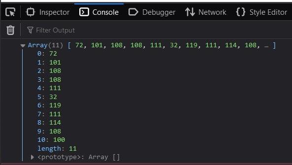 Convert JavaScript string to ASCII Array
