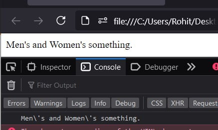 JavaScript escape a single quote in a string variable