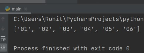 Python range to the list of strings