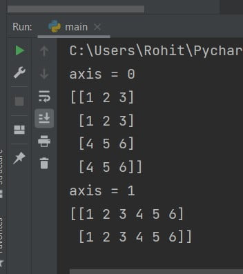 axis 0 and 1 NumPy array append in Python