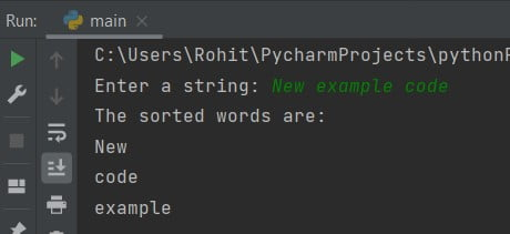 sort Input string is taken from user in Python
