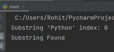 Find substring in string python