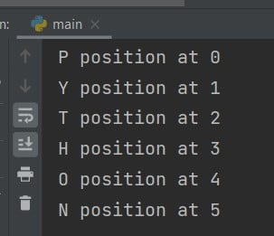 Python program to print index of character in string