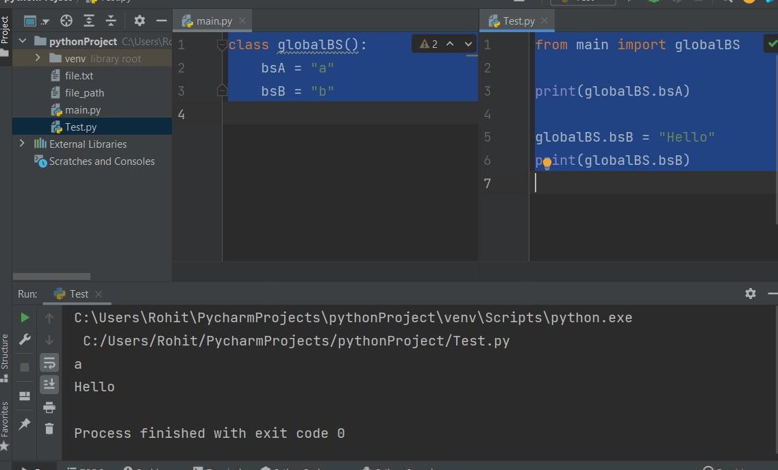 Python global multiple variables