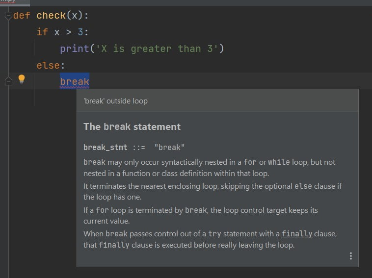 Python if break function without loop error