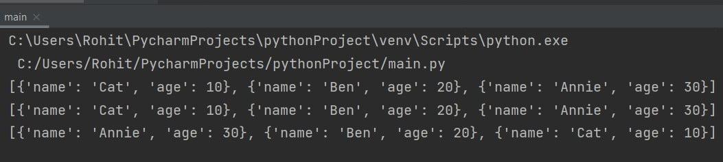 Python sort list of dictionaries