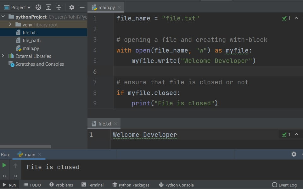 open a file from within a python with statement