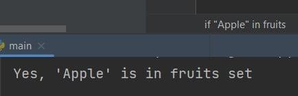 Python set contains
